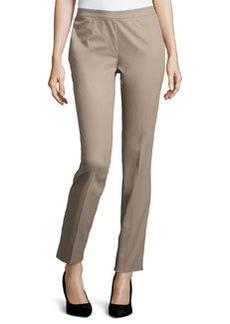 Lafayette 148 New York Straight-Leg Ankle Pants, Mushroom