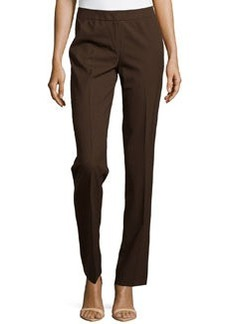 Lafayette 148 New York Straight-Leg Front-Zip Pants, Espresso