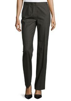 Lafayette 148 New York Straight-Leg Menswear-Inspired Trousers, Forest Melange