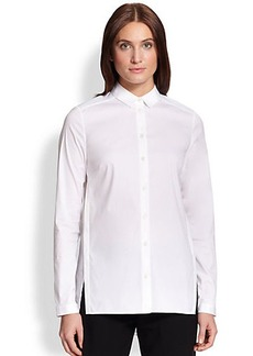 Lafayette 148 New York Stretch Cotton Pleated-Back Blouse