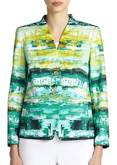 Lafayette 148 New York Stretch Cotton Printed Jacket