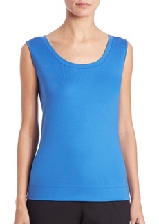 Lafayette 148 New York Stretch-Cotton Scoopneck Tank Top