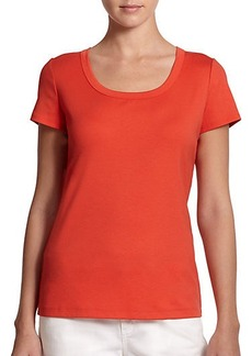 Lafayette 148 New York Stretch Cotton Scoopneck Tee