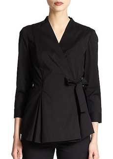 Lafayette 148 New York Stretch Cotton Wrap Blouse