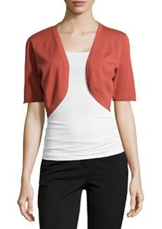 Lafayette 148 New York Stretch-Knit Half-Sleeve Shrug, Chili Red