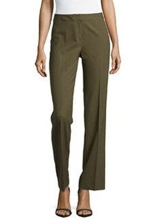 Lafayette 148 New York Stretch-Knit Straight-Leg Pants, Olive
