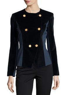 Lafayette 148 New York Stretch Velvet & Jersey Jacket, Orion/Navy