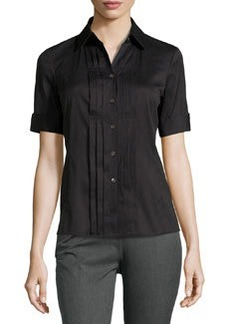 Lafayette 148 New York Stripe Button-Front Blouse, Black