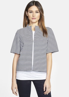 Lafayette 148 New York Stripe Funnel Neck Ponte Jacket