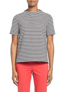 Lafayette 148 New York Stripe Ponte Funnel Neck Top (Regular & Petite)