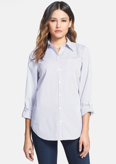 Lafayette 148 New York Stripe Roll Sleeve Shirt