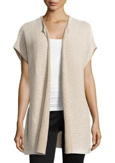 Lafayette 148 New York Stripe-Stitch Open-Front Vest, Pumice/Multi