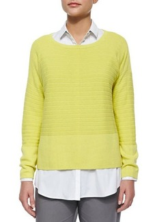 Lafayette 148 New York Stripe-Textured Sweater