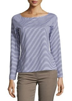 Lafayette 148 New York Striped Boat-Neck Long-Sleeve Tee, Navy/White