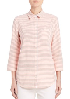 Lafayette 148 New York Striped Button-Front Blouse