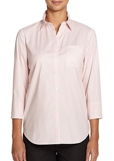 Lafayette 148 New York Striped Button-Front Shirt