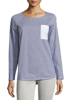 Lafayette 148 New York Striped Contrast-Pocket Long-Sleeve Tee