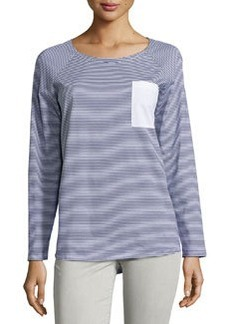Lafayette 148 New York Striped Contrast-Pocket Long-Sleeve Tee, Navy/White