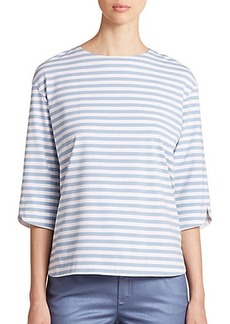 Lafayette 148 New York Striped Cotton Blouse
