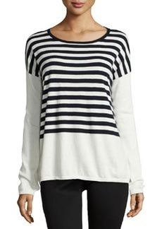 Lafayette 148 New York Striped Dolman Sweater, Ink/Multi