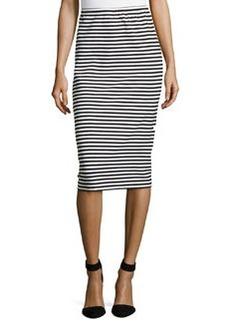 Lafayette 148 New York Striped Long Pencil Skirt, Black/Multi