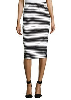 Lafayette 148 New York Striped Long Pencil Skirt, Black/Multi