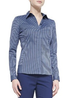 Lafayette 148 New York Striped Long-Sleeve Blouse