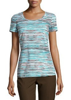 Lafayette 148 New York Striped Scoop-Neck Tee, Splash/Multi