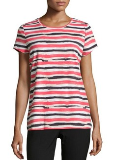 Lafayette 148 New York Striped Short-Sleeve Rounded-Hem Tee