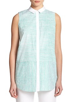 Lafayette 148 New York Striped Sleeveless Blouse