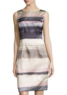 Lafayette 148 New York Striped Sleeveless Sheath Dress, Khaki/Multi