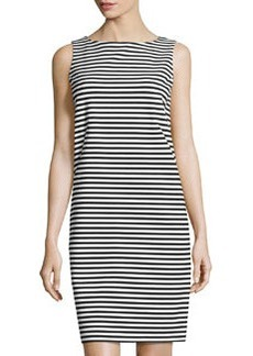 Lafayette 148 New York Striped Sleeveless Shift Dress, Black/White