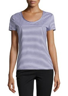 Lafayette 148 New York Striped Stretch Jersey Tee, Navy/White