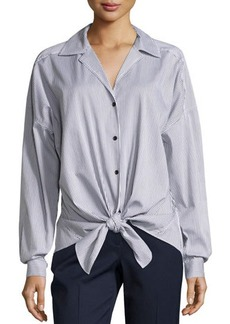 Lafayette 148 New York Striped Tie-Front Long-Sleeve Blouse