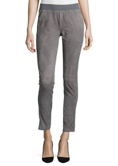 Lafayette 148 New York Suede-Front Knit-Back Moto Pants  Suede-Front Knit-Back Moto Pants