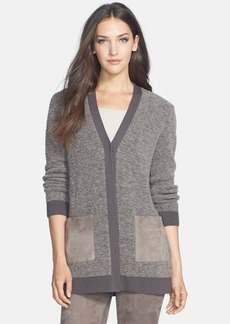Lafayette 148 New York Suede Pocket Bouclé Cardigan