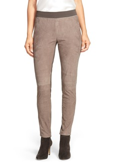 Lafayette 148 New York Suede & Punto Milano Skinny Moto Pants