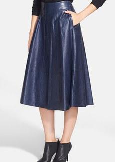 Lafayette 148 New York 'Suzie' Lambskin Midi Skirt