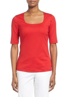 Lafayette 148 New York Swiss Cotton Rib Square Neck Tee
