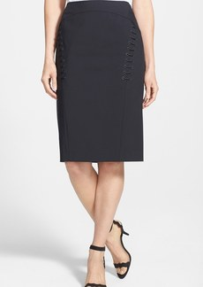 Lafayette 148 New York 'Sylvana' Lace-Up Detail Stretch Skirt