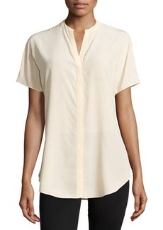 Lafayette 148 New York Tamsin Short-Sleeve Crepe Blouse