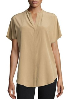 Lafayette 148 New York Tamsin Short-Sleeve Silk Blouse