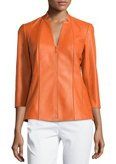 Lafayette 148 New York Tara 3/4-Sleeve Leather Jacket