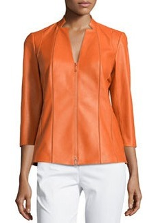 Lafayette 148 New York Tara 3/4-Sleeve Leather Jacket, Carrot