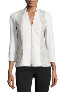 Lafayette 148 New York Tara Laser-Cut Leather Jacket, Opal