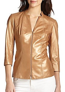 Lafayette 148 New York Tara Metallic Leather Jacket