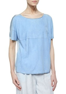 Lafayette 148 New York Tate Short-Sleeve Suede Knit Tee  Tate Short-Sleeve Suede Knit Tee