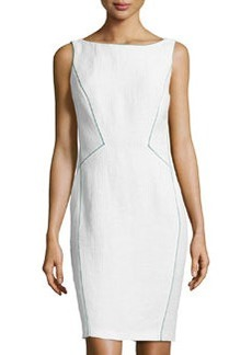 Lafayette 148 New York Textured Colorblock Seam Dress, White/Azure