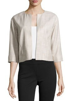 Lafayette 148 New York Textured Open-Front Jacket, Khaki