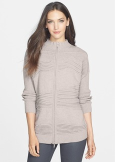 Lafayette 148 New York Textured Oversize Front Zip Cardigan